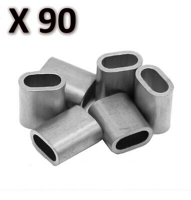 90 x M6 Aluminium Swage Ferrule for 6mm Wire Cable Rope Crimp Crimping