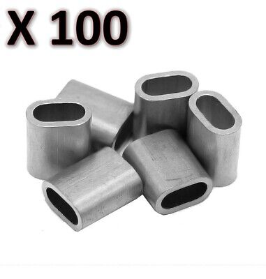 100 x M6 Aluminium Swage Ferrule for 6mm Wire Cable Rope Crimp Crimping