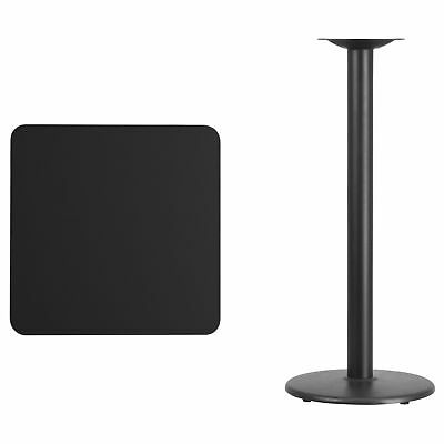 24-inch Square Laminate Table Top with 18-inch Round Bar Height Table Base