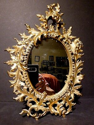 Antique Ornate Baroque Rococo Gilt Metal Acanthus Leaf Standing Vanity Mirror