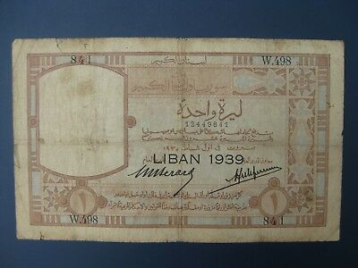 VERY SCARCE 1939 (1935) LEBANON 1 LIVRE BANKNOTE (MIDDLE EAST) VG-aF