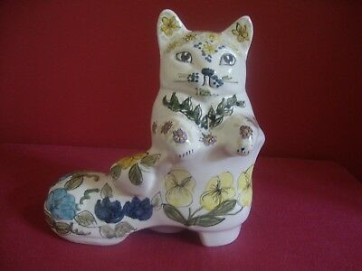 David Sharp Pottery / Rye .   Cat in a boot money box