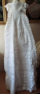Antique Baby  Christening Gown/ Lavish Broderie Anglais