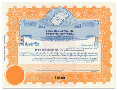 Lyons Tire Service, Inc. Stock Certificate (Map of West Virginia)