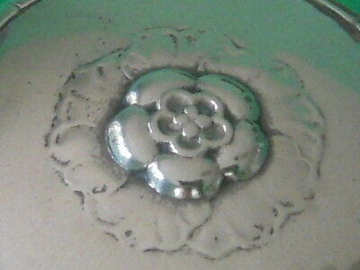 c. 1920's Georg Jensen Sterling Silver Floral Powder Box Compact # 79