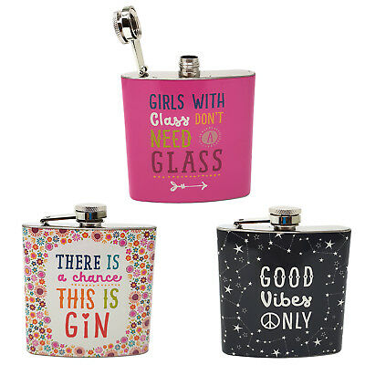 Good Vibes Gin Floral Hip Flask Pink Girls Steel Whisky Womans Pocket Gift 8oz