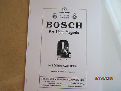 Bosch Type DA2 1 cylinder  Magneto Instructions, Operating Parts Manual