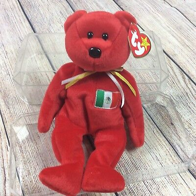 Beanie Babies Red Osito Mexico With Case