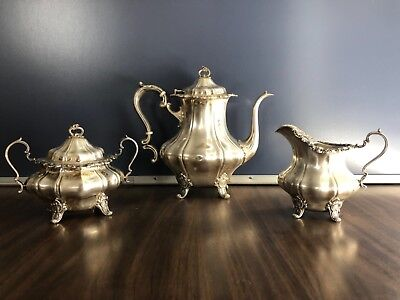 Antique Gorham Sterling Silver 3 Piece Original Tea Set
