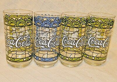 Vintage Blue Green Stained Glass Coca Cola Tumbler Promo Jack In the Box Burgers