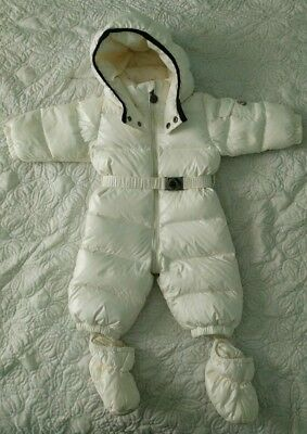 ff3227403 MONCLER BABY WHITE Down Coat Puffer Snowsuit Size 6-9 Months ...