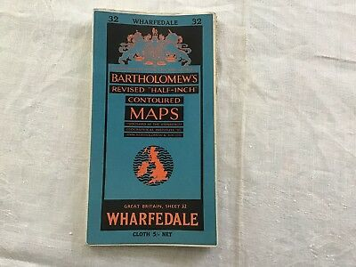 Vintage Road Map, Great Britain, c.1950 Bartholomew's Revised #32 Wharfdale