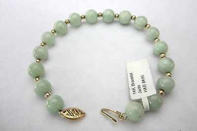 *Mint*Lovely Antique Chinese 14K Yellow Gold & Green Jadeite Jade Beads Bracelet