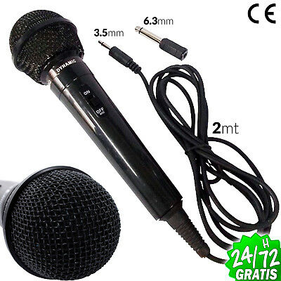 MICROPHONE PROFESSIONAL 2 Metres 3.5mm 6.3mm CON CABLE KARAOKE MICRO DJ PARTY