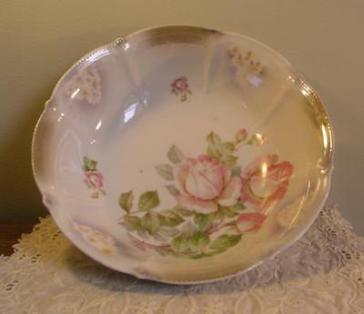 Vintage Opalescent Floral Bowl Roses Unknown Maker Beautiful Germany