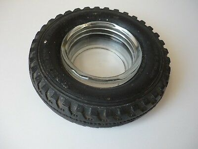 Vintage Kenning Tyre Services Rubber Tyre Ashtray W/glass Centre