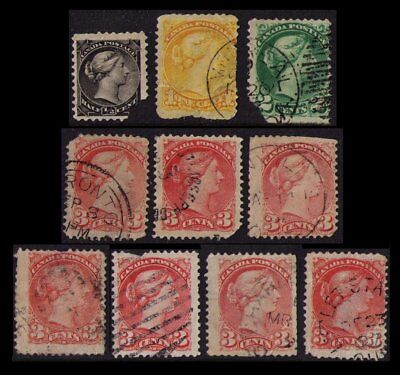 Canada 1870-88 Qv #34 35 36 37 41 Study Lot 10 Vintage Stamps Faults Cscan (V350