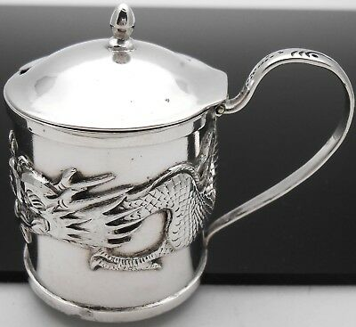 Wang Hing Chinese Export Silver Dragon Mustard Pot