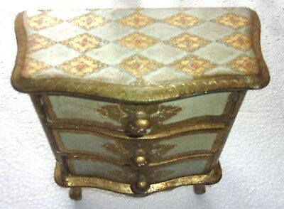 Vintage Florentine Tole Wooden Chest Jewelry Box