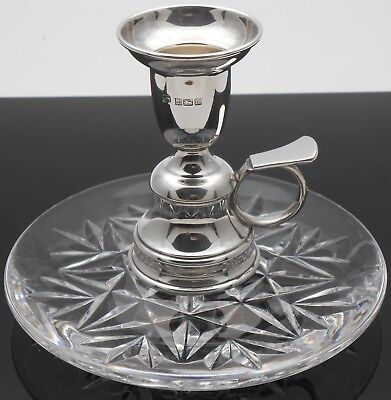 Sterling Silver & Crystal Glass Chamberstick - Lindisfarne Handle - 1994