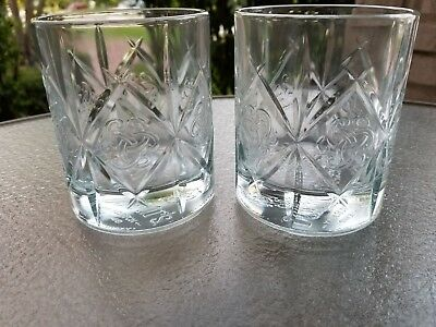 Lot of 2 Dewar's Scotch Whiskey Glasses with Celtic Knot Tumblers