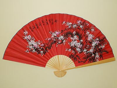 "New Oriental Bamboo Red Wall Fan  Pink & White Cherry Flowers Scene 60"" X 35"""