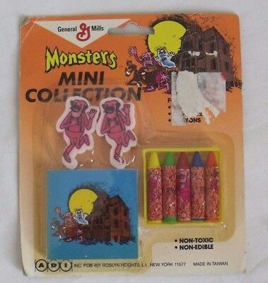 Vintage General Mills Monsters Mini Collection Erasers Crayons Frankenberry