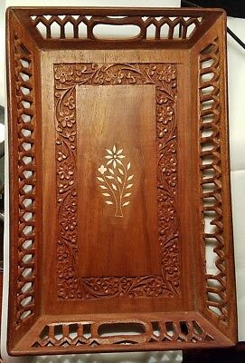 Antique Wood hand carved tray flower with inlay