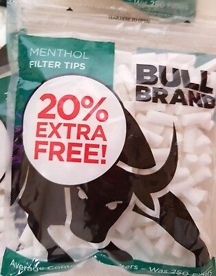 Bull Brand MENTHOL Cigarette Tobacco Filter Tips Resealable Bag 1 300 Tips