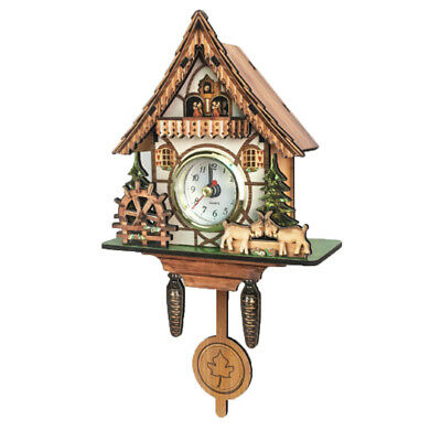 Vintage Decorative Clock Hanging Wood Cuckoo Clock Farmhouse Home Décor E