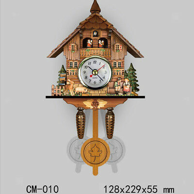 Vintage Decorative Clock Hanging Wood Cuckoo Clock Farmhouse Home Décor J