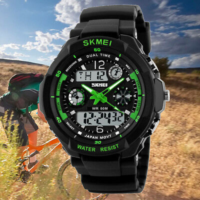 Mens Waterproof LED Digital Date Alarm Dual Time Rubber Sports Army Wristwatch