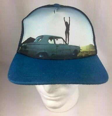 Vintage Trucker Hat Mesh Snapback Classic Car With Lady pic.Great Condition Blue