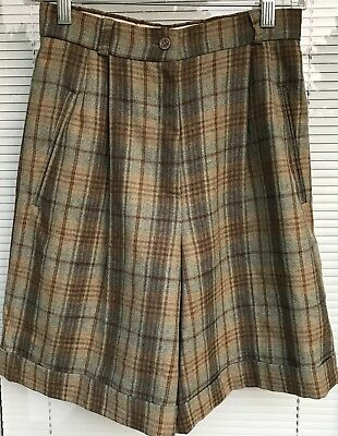 Vtg 70s Caractere Italy Womens Wool Shorts Pleated Zip Front Cuffed Brown Plaid