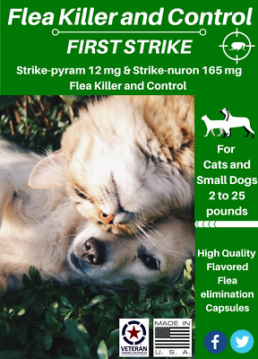 2 Products in 1 Flea Killer & Control Cats and Small Dogs SIX Flavored Capsules