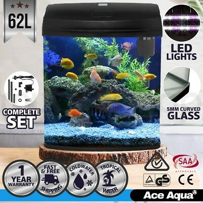 Ace Aqua 62L Aquarium Fish Tank Curved Glass Complete Set Filter Pump LED Light