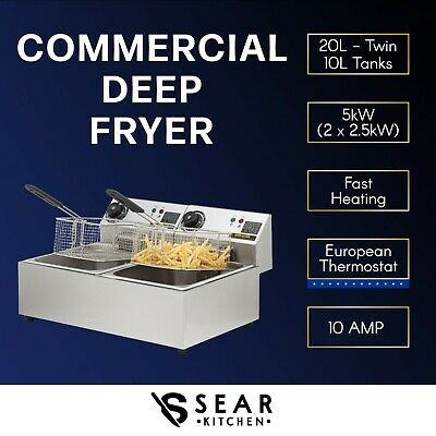 Commercial Electric Deep Fryer 20L - Twin Double Basket Chip Frying 5000W