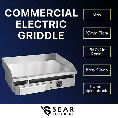 Commercial Electric Griddle & Grill Hot Plate 55cm 3kW Stainless Steel BBQ