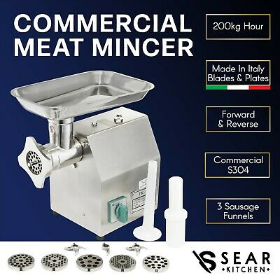 Commercial Meat Mincer 200kg/hr - Electric Grinder Sausage Maker Filler Stuffer