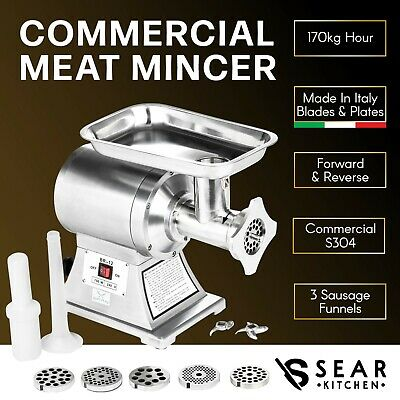 Commercial Meat Mincer 170kg/hr - Electric Grinder & Sausage Maker Filler Stuffe