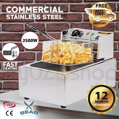 Commercial Electric Deep Fryer 10L - Single Basket Chip Frying 2500W