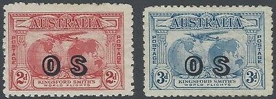 1931 2d Red & 3d Blue Kingsford Smith Overprint OS - Mint/Unused - SG O123/4