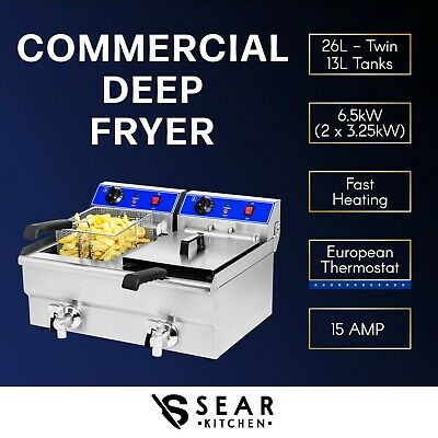 Commercial Electric Deep Fryer 20L - Twin Double Basket Chip Frying 7000W
