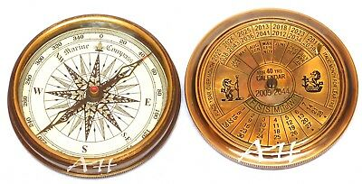Maritime Compasses Maritime Antique Nautical Collectible Hiking Décor 100 Year Calendar Marin Compass Sc 041
