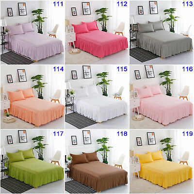 Pure Solid Pleated Valance Queen King Size Bed Skirt Set Pillow Cases 100%Cotton