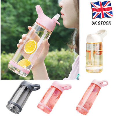 With Straw Drinks Sport Plastic Water Bottle Cycling Hiking Camping New UK Stock