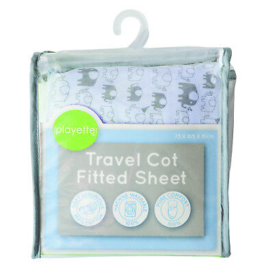 Printed Travel Cot Fitted Sheet - Blue Elephant 1353508,,