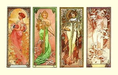 The Four Seasons Alphonse Mucha Lovely Art Nouveau 4 Panel Poster  A3 Re Print