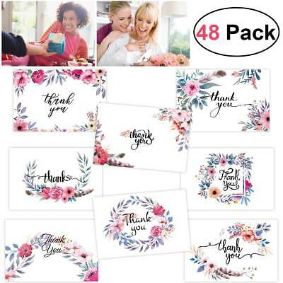 48x Thank You Cards with Envelopes & Stickers Romantic Floral & Leaf 8 Styles AU