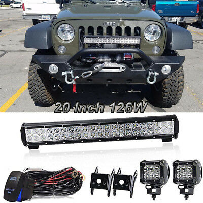 """20"""" 126W LED Work Light Bar Offroad Lamp Spot Flood Combo Fit Jeep Ford 4WD UTE"""